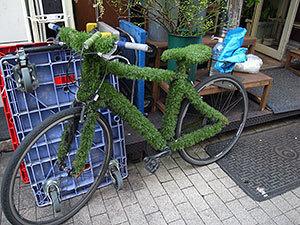 芝生自転車
