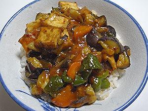 麻婆茄子カレー丼